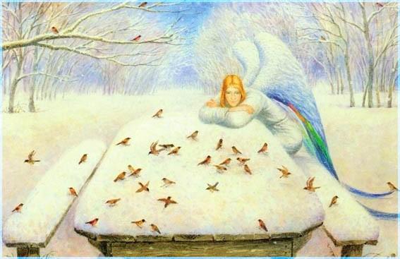 Ангел и птички