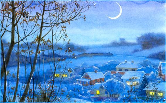 зимняя ночь в деревне 2