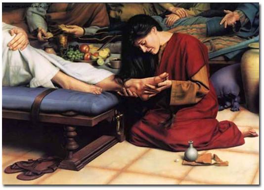 Мария Магдалина омывает ноги Христа