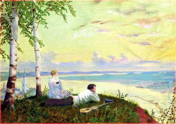 На Волге, Б. Кустодиев