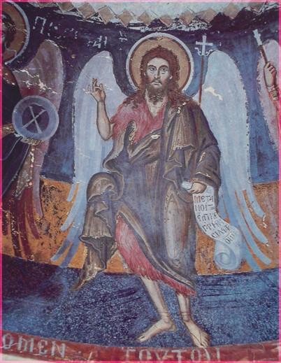 Св Иоанн Предтеча Фреска келии св. Стефана. Афон