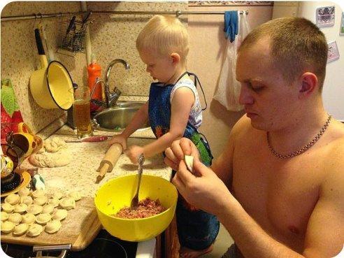 С папой на кухне