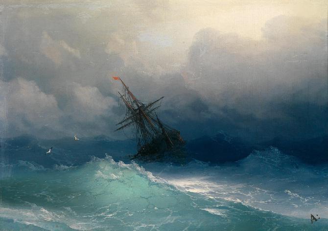 И Айвазовский, Корабль в бушующем море