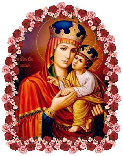 Киево-Братская икона Богородицы в цветах