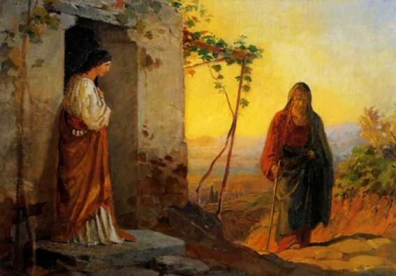 Мария, сестра Лазаря,встречает Иисуса Христа, идущего к ним в дом Н. Ге