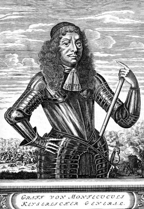 Портрет Раймундо Монтекукколи в доспехах. Гравюра XVII в.