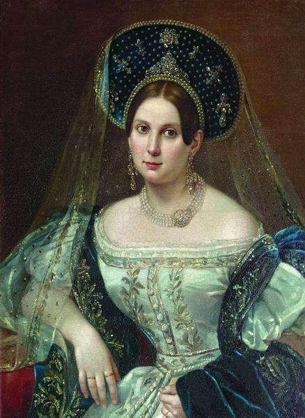 П.Н. Орлов. Портрет неизвестной в придворном русском платье, 1835 год