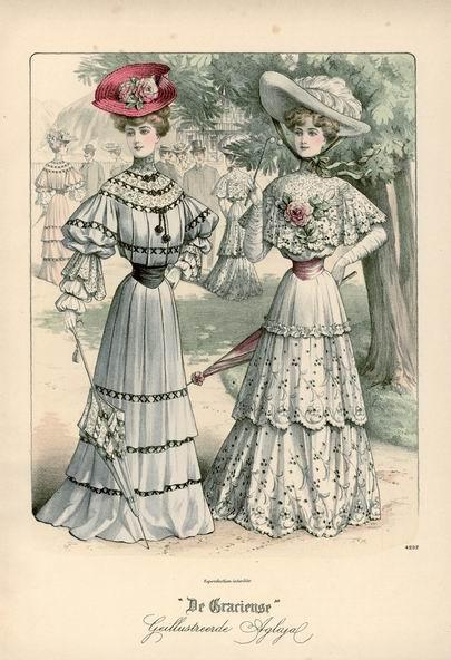 Наряды для прогулок, 1905-1907