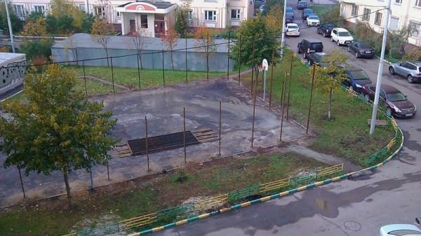 10, строительство спортплощадки ул Талалихина.1