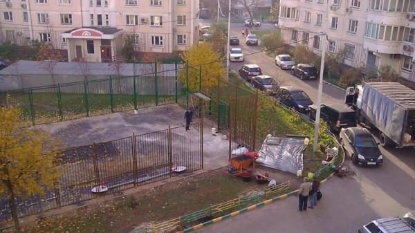 13, строительство спортплощадки ул Талалихина.1