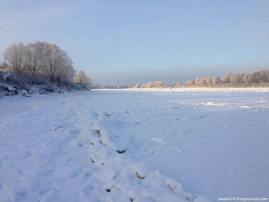 Река Мста, Новгородская область, январь 2016 года