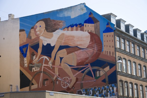 Копенгаген, велосипедное граффити.