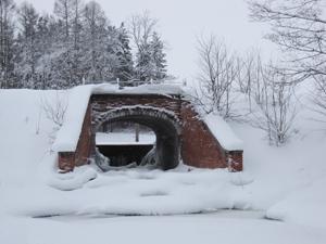 Плотина в Баболовском парке. Январь.
