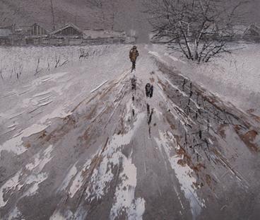 Дмитрий Кустанович. Прогулка с собакой.