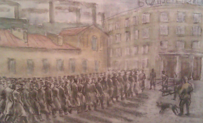 В.И.Трояновский 'Пленные немцы идут на работу на завод Большевик', 1953.