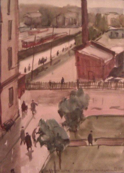 В.И.Трояновский 'Из окна дома. Трампарк Володарского.', 1956.