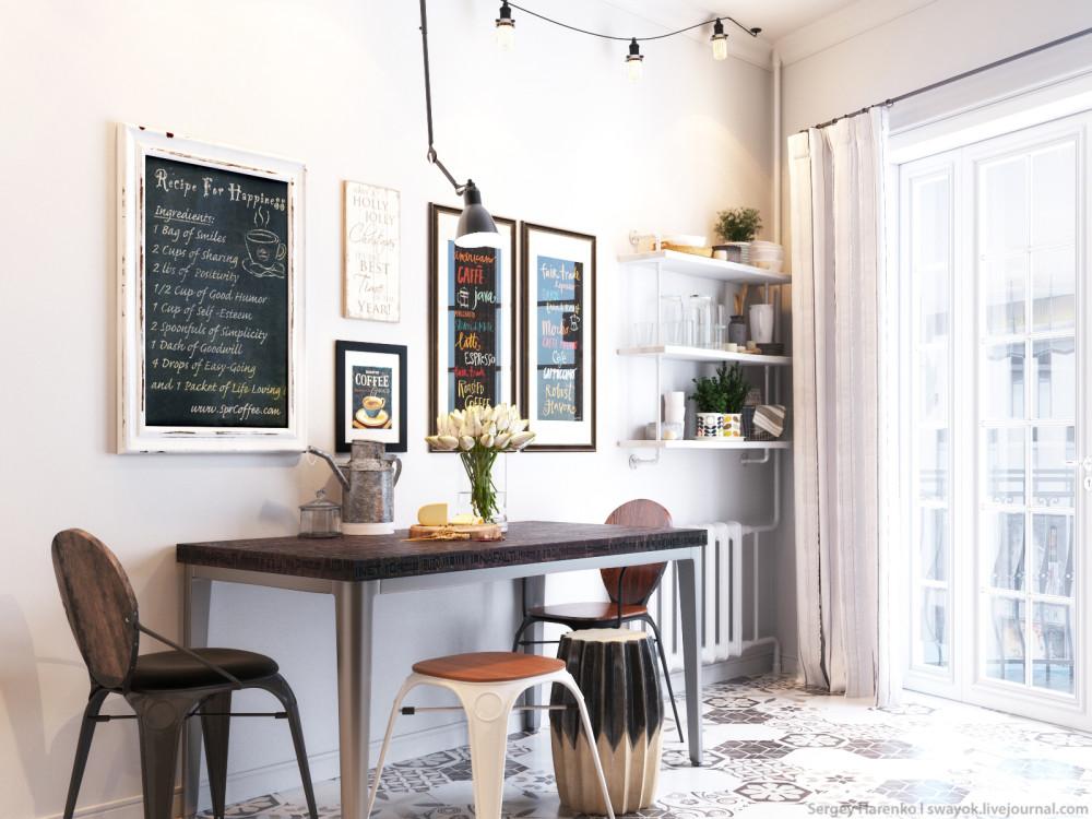 маленькая кухня в скандинавском стиле Interiorsru