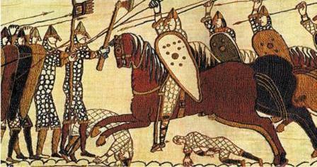 Фрагмент гобелена из Байё с изображением норманнского завоевания Англии.