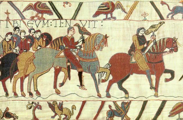 Фрагмент гобелена из Байё, с изображением Вильгельма Завоевателя.