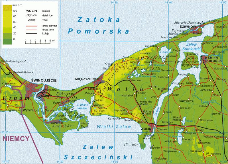 Между островами Волин и Узнам (Узедом) – протекает Свина (Świnа).