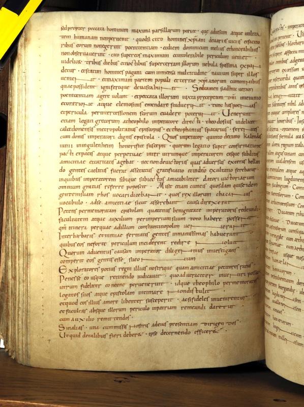Фото той самой страницы манускрипта, где описывается визит послов народа Рос в Ингельгейм.