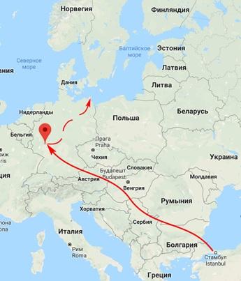 Условный маршрут послов Росов от Константинополя до Ингельгейма и вероятный их путь до пункта назначения. Как видим – до Рюгена через Ингельгейм добираться достаточно логично.