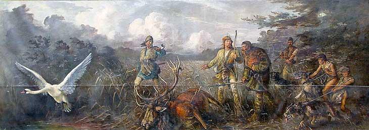 """Генрих Борвин поклялся восстановить разрушенный язычниками монастырь там, где у него случится удачная охота. Подстрелив прекрасного оленя в болотистой местности он засомневался в выборе, тогда из камышей вылетел лебедь, который закричал: """"dobre, dobre"""". В результате были основан монастырь Добрань. Ныне известный по-немецки, как Доберан. В котором позже была организована усыпальница мекленбургских князей и герцогов, потомков Никлота и Прибыслава."""