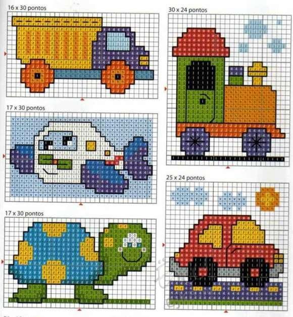 Маленькие схемы для вышивки детям