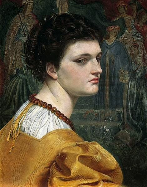 Portrait study of a lady in a yellow dress (possibly a self portrait) (1870)