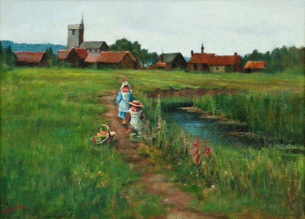 Maria Wiik 1853-1928 PLAYING CHILDREN ON A SUMMER FIELD