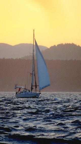 m3.NEREIDA at Race Passage against sunset 7-7-13