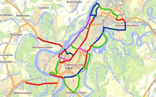 Схема велодорожек Уфа 2012