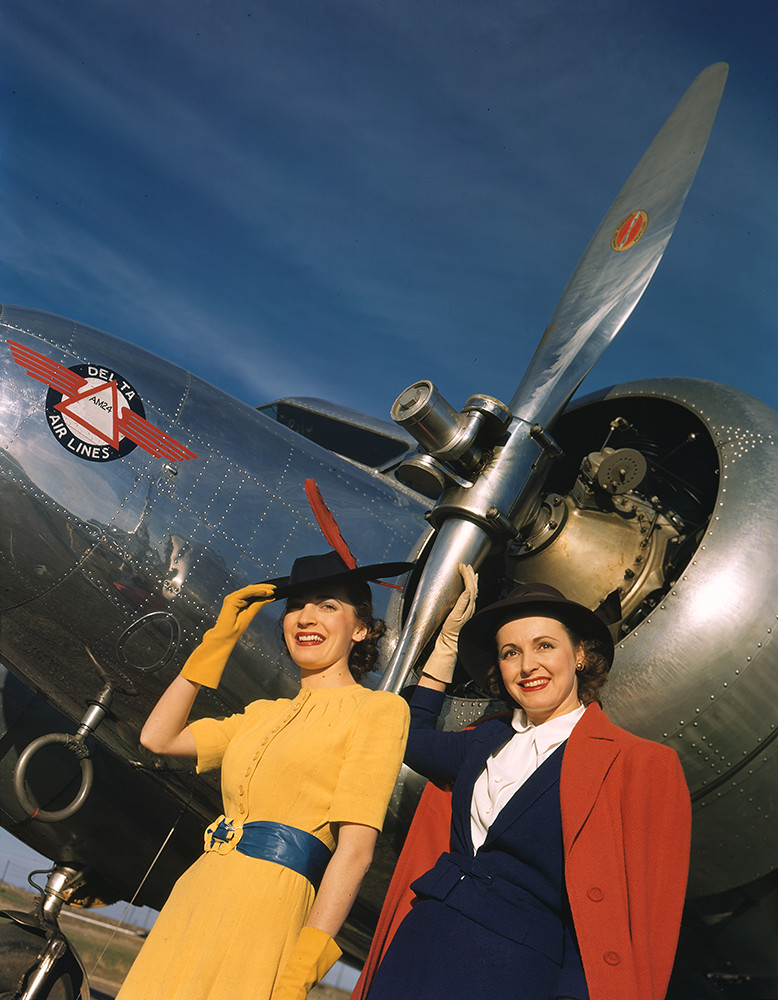 [Two Models next to Lockheed 10B Electra, Delta Air Lines]