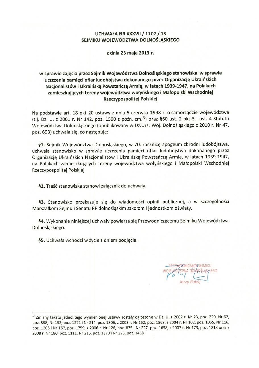 Uchwala Nr XXXVII-1107-13 Sejmiku Wojewodztwa Dolnoslaskiego. S. 1