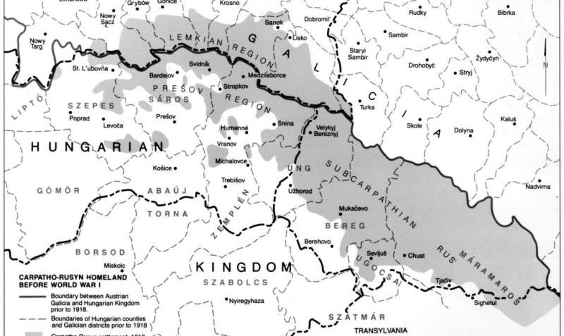 Подкарпатская Русь по состоянию на 1918 г.