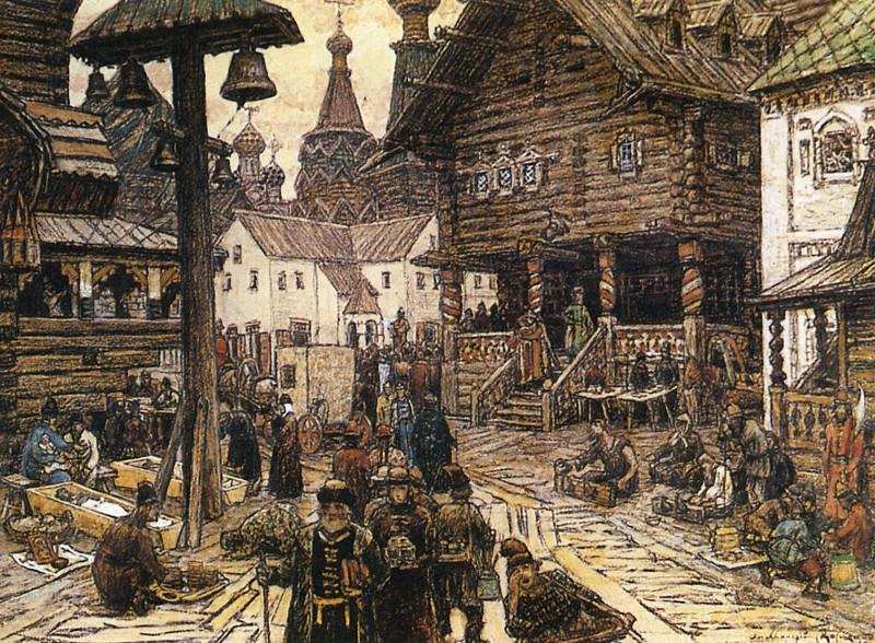 Москва в начале XV века. Фрагмент картины Васнецова «На крестце в Китай-городе»