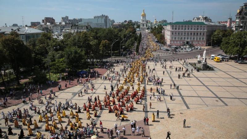 «Крестный ход» СЦУ 2019 года на подходе к Владимирской горке