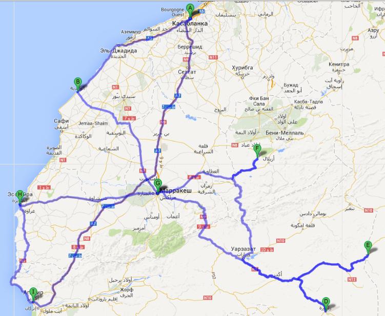 Карта маршрут Марокко 2013