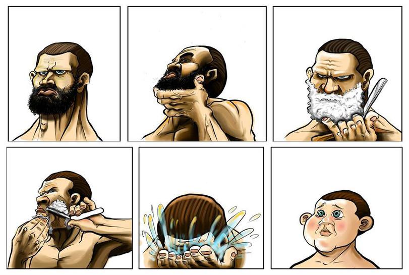 побрился