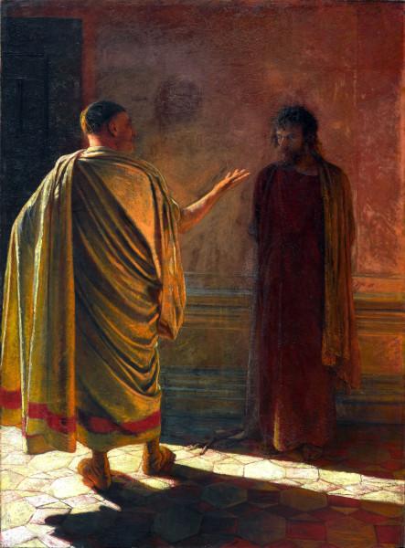 Ге. «Что есть истина» Христос и Пилат. 1890. ГТГ.jpg