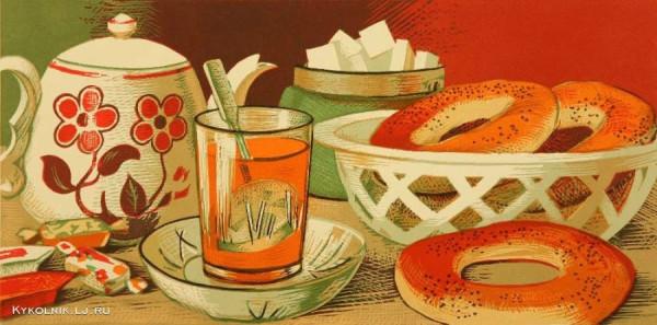 Витинг Николай Иосифович (Россия, 1910 - 1991) «Чай с бубликами» 1977