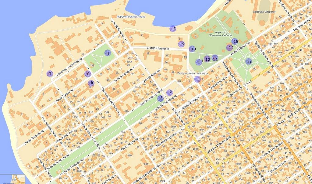 тебя карта с улицами и домами Настоящему Договору