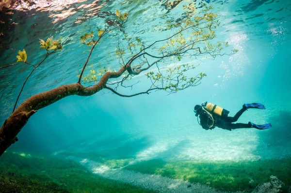 Diver in Magic Kingdom. Green Lake, Austria