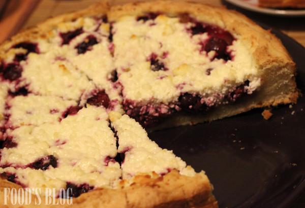 Пирог с творогом и вишней. ВИшня. Творог. Песочное тесто