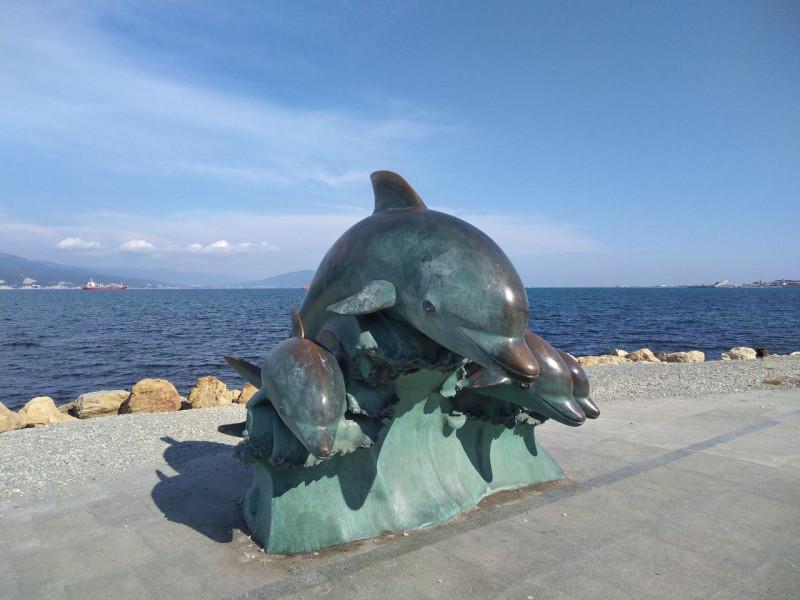 Дельфины - памятник на набережной Новороссийска
