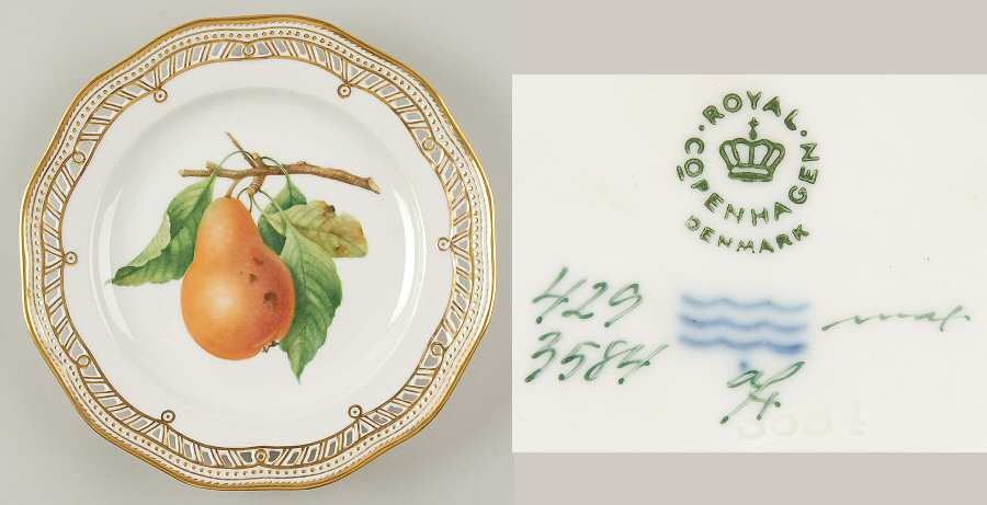 royal_copenhagen_flora_danica_1961_current_pierced_fruit_service_plate_w_smooth_edge_pear