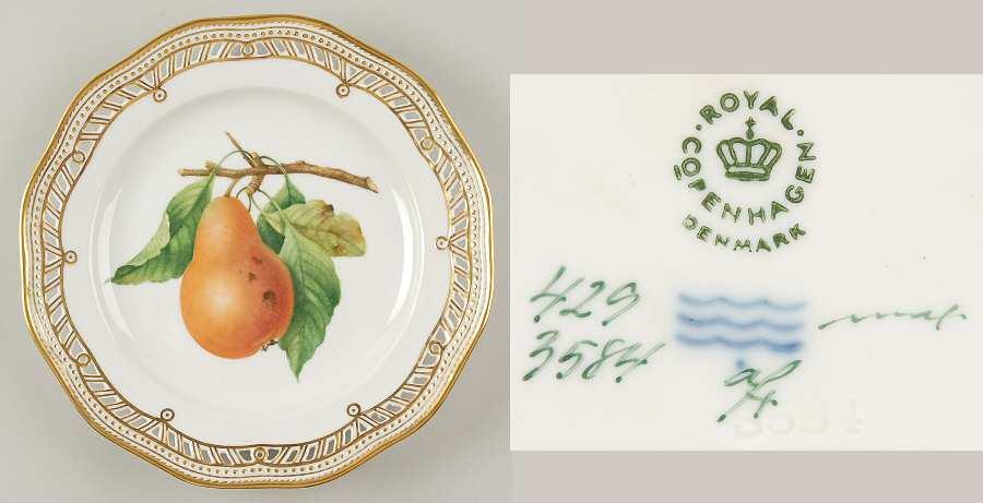 royal_copenhagen_flora_danica_1961_current_pierced_fruit_service_plate_w_smooth_edge_pear