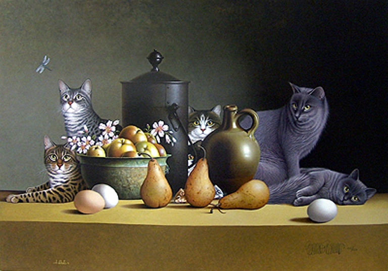 Braldt Bralds Still Life with Three Eggs and Four Pears