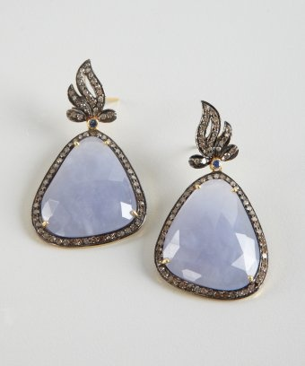 lavender chalcedony and diamond pear drop earrings