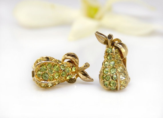 rhinestone pear earrings
